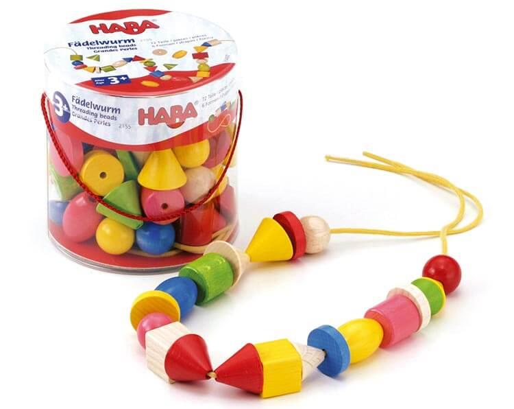 カラービーズ・6つの形〈紐通し・木のおもちゃ〉HABA|木のおもちゃ・知育玩具