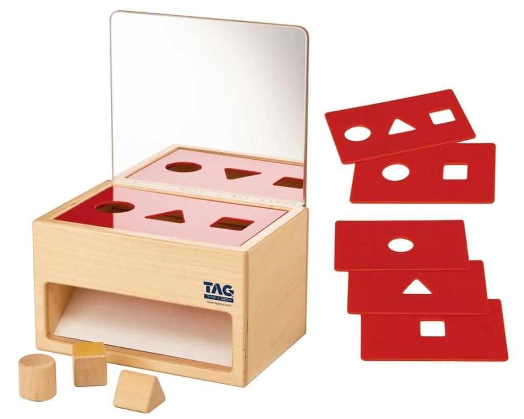 鏡の付いた形の分類箱