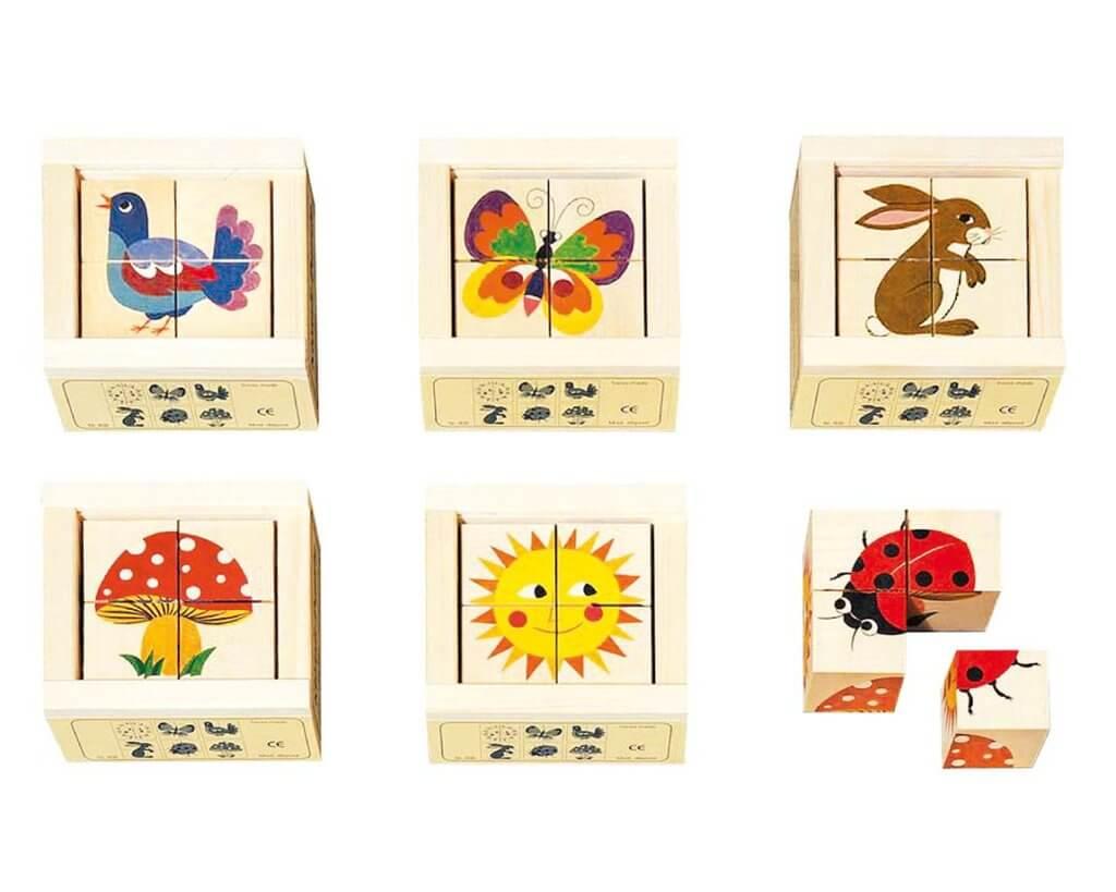 六面体絵合わせパズルナチュラル|3歳のパズル
