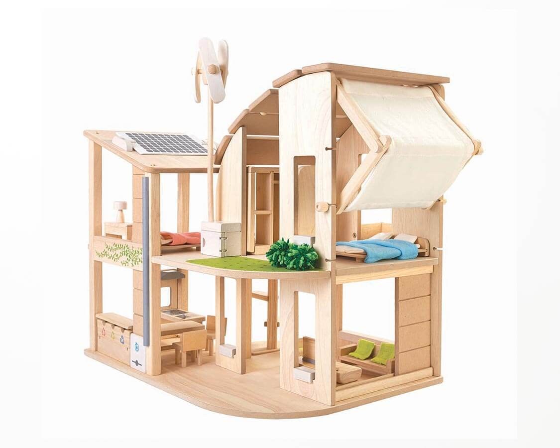 家具付きグリーンドールハウス PLANTOYS|木のおもちゃ・知育玩具