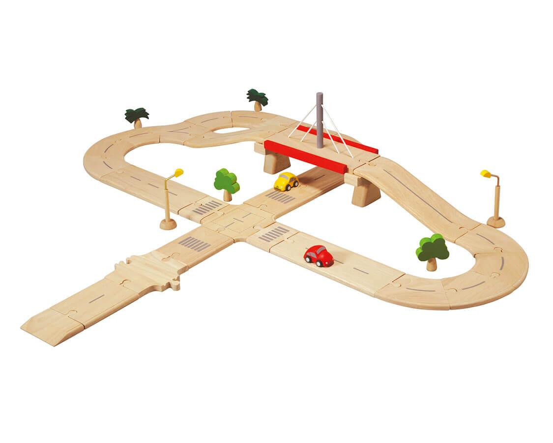 ロードシステムデラックス〈車のおもちゃ〉PLANTOYS|木のおもちゃ・知育玩具